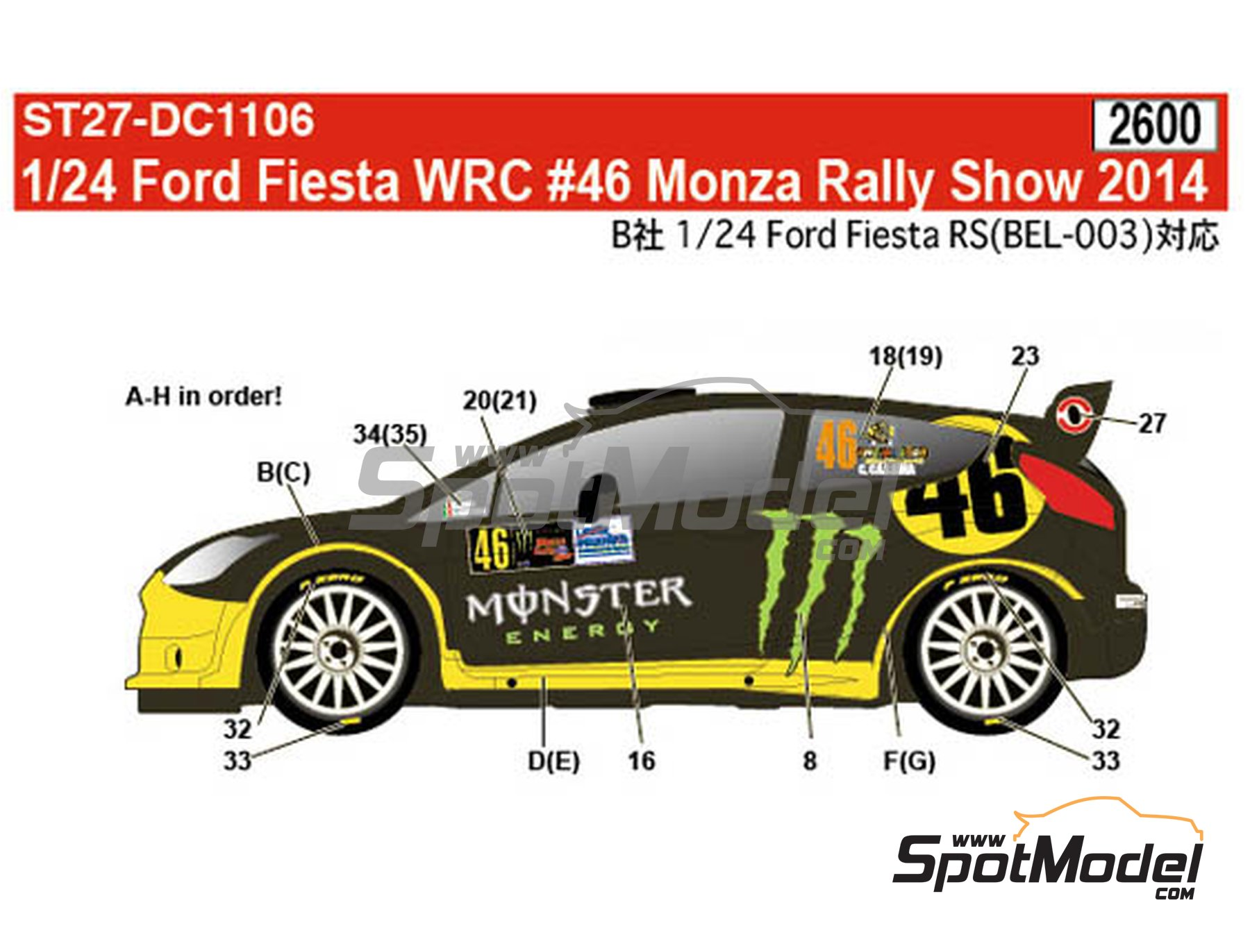 Image 1: Ford Fiesta WRC Monster Energy - Monza Rally Show 2014 | Marking / livery in 1/24 scale manufactured by Studio27 (ref.ST27-DC1106)