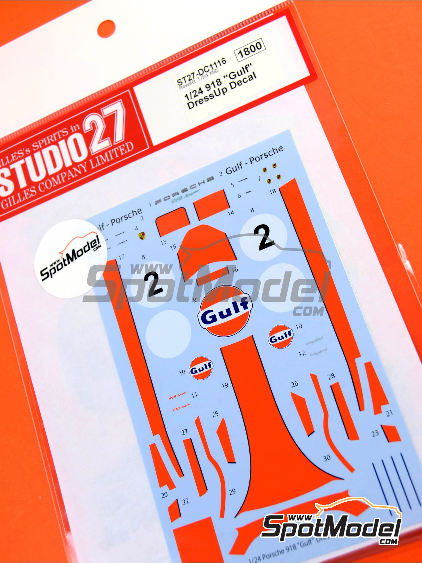 Porsche 918 Spyder Gulf | Marking / livery in 1/24 scale manufactured by Studio27 (ref. ST27-DC1116) image