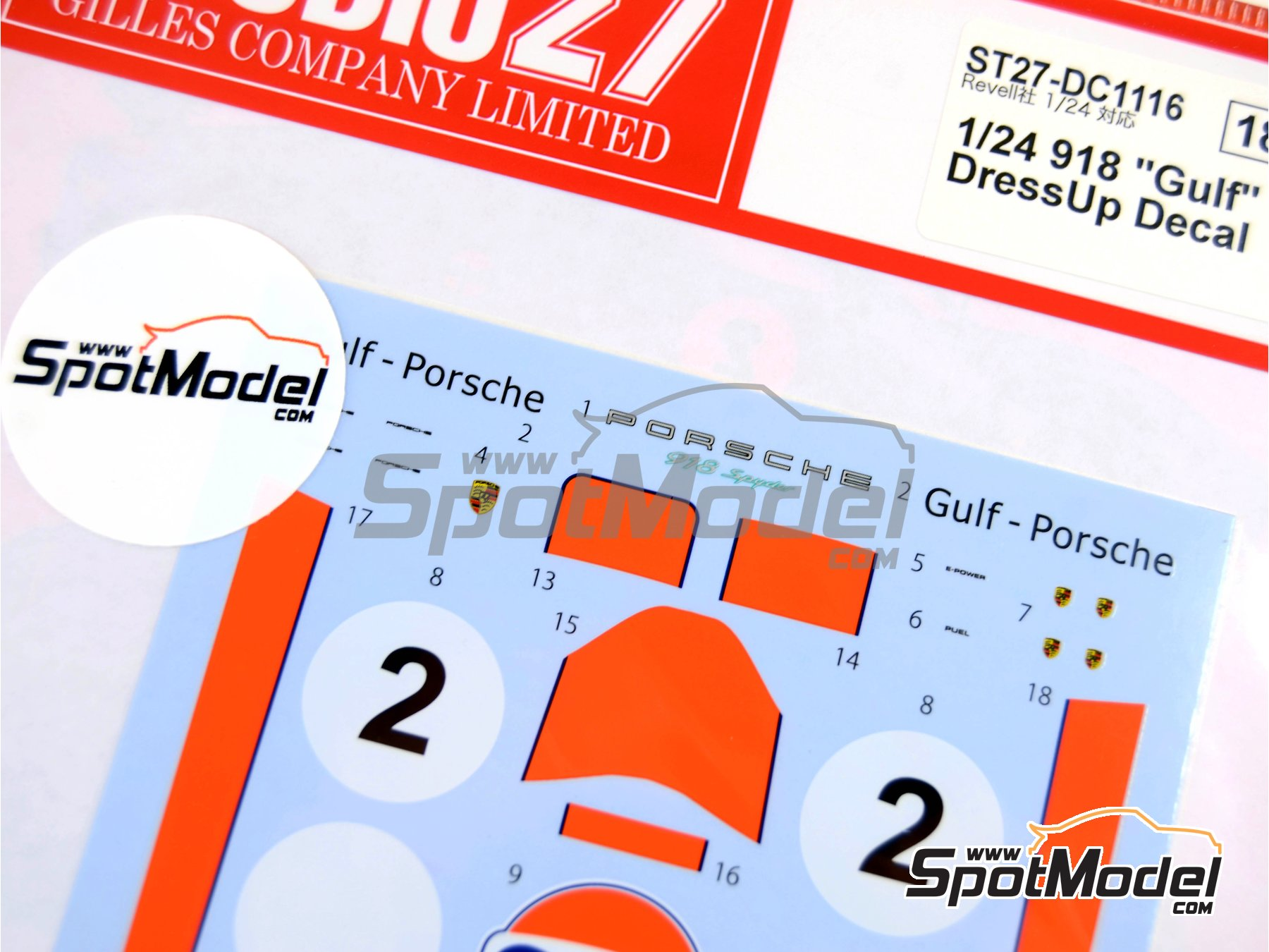 Image 4: Porsche 918 Spyder Gulf | Marking / livery in 1/24 scale manufactured by Studio27 (ref. ST27-DC1116)