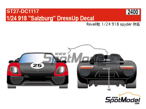 Image 3: Porsche 918 Spyder Salzburg | Marking / livery in 1/24 scale manufactured by Studio27 (ref. ST27-DC1117)