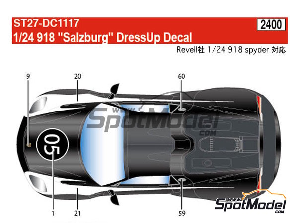 Image 5: Porsche 918 Spyder Salzburg | Marking / livery in 1/24 scale manufactured by Studio27 (ref. ST27-DC1117)
