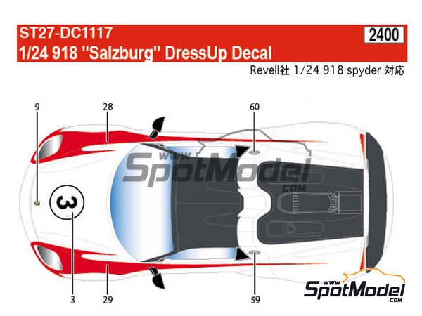 Image 8: Porsche 918 Spyder Salzburg | Marking / livery in 1/24 scale manufactured by Studio27 (ref. ST27-DC1117)