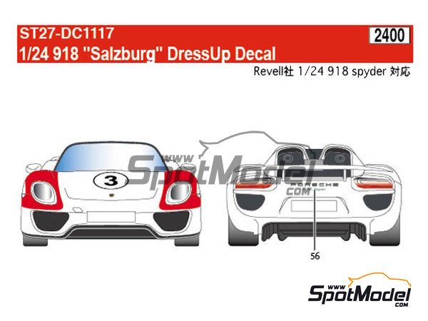 Image 9: Porsche 918 Spyder Salzburg | Marking / livery in 1/24 scale manufactured by Studio27 (ref. ST27-DC1117)