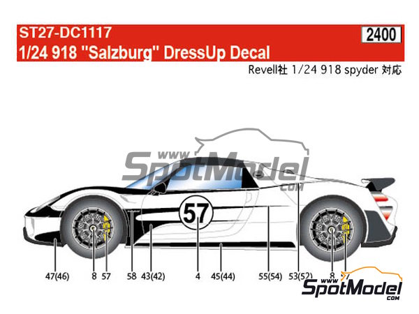 Image 10: Porsche 918 Spyder Salzburg | Marking / livery in 1/24 scale manufactured by Studio27 (ref. ST27-DC1117)