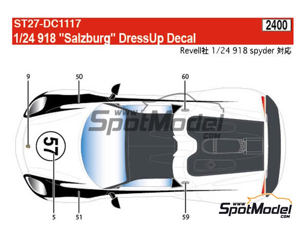 Image 11: Porsche 918 Spyder Salzburg | Marking / livery in 1/24 scale manufactured by Studio27 (ref. ST27-DC1117)