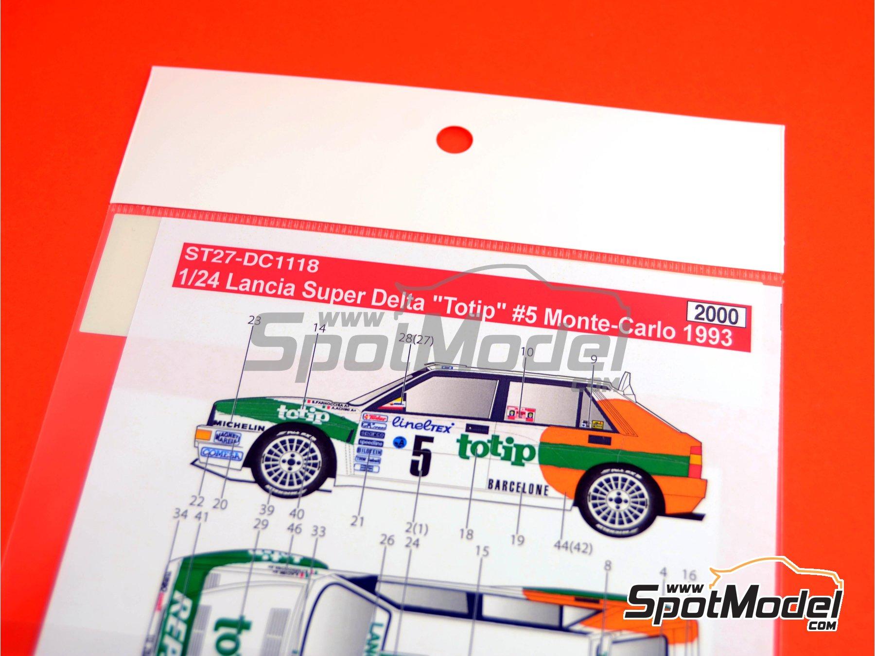 Image 1: Lancia Super Delta Deltona HF Totip - Rally de Montecarlo - Rallye Automobile de Monte-Carlo 1993 | Decoración en escala1/24 fabricado por Studio27 (ref.ST27-DC1118)