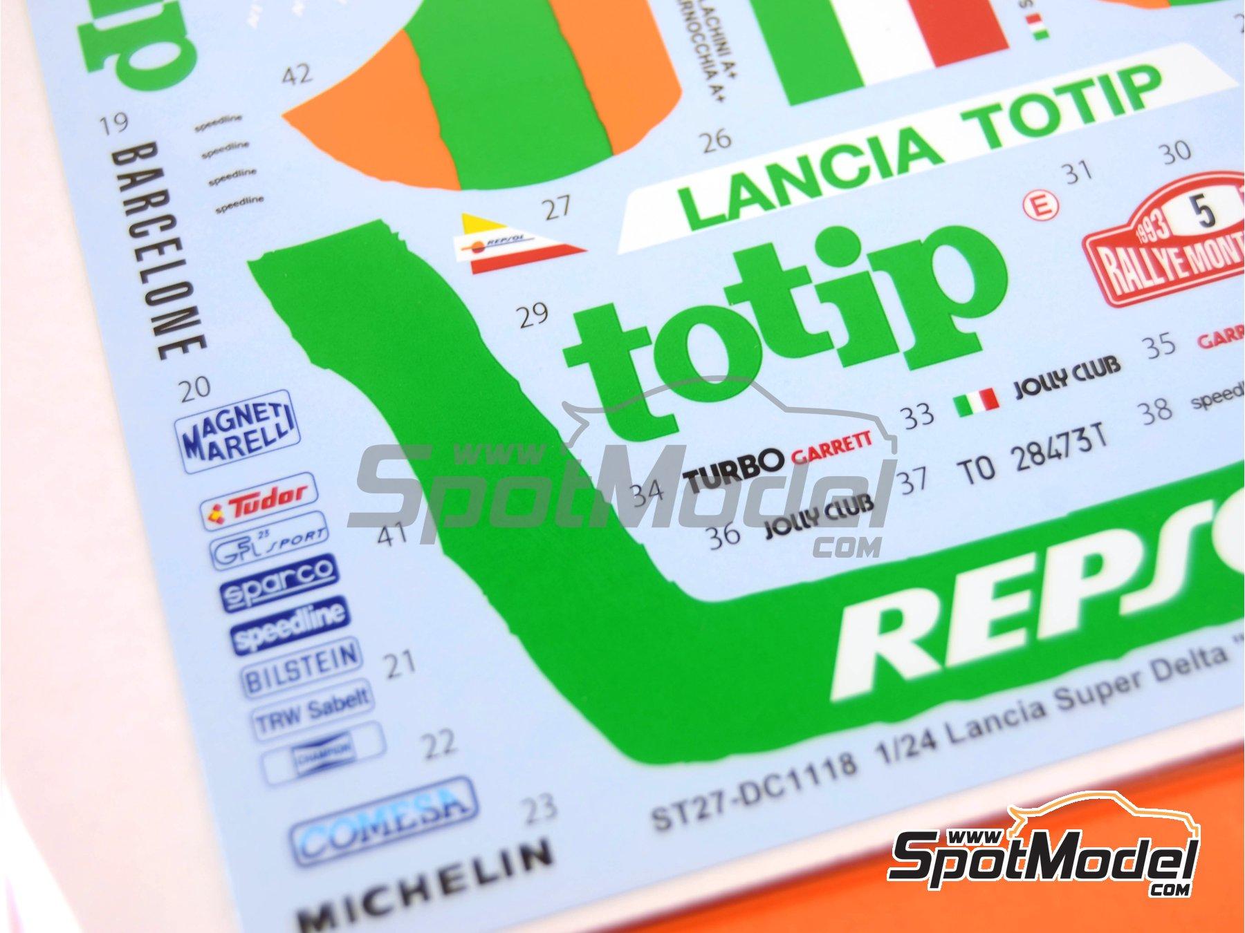 Image 6: Lancia Super Delta Deltona HF Totip - Rally de Montecarlo - Rallye Automobile de Monte-Carlo 1993 | Decoración en escala1/24 fabricado por Studio27 (ref.ST27-DC1118)