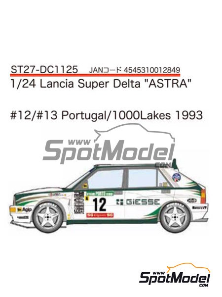 Lancia Super Delta Deltona HF Integrale ASTRA - 1000 Lakes Finland Rally, Portugal Rally 1993 | Marking / livery in 1/24 scale manufactured by Studio27 (ref. ST27-DC1125) image