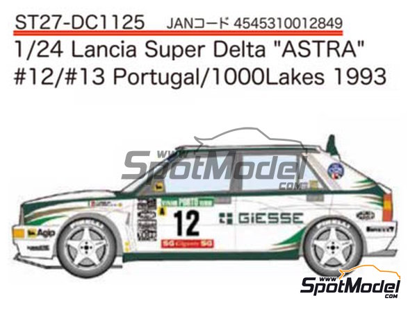 Image 1: Lancia Super Delta Deltona HF Integrale ASTRA - 1000 Lakes Finland Rally, Portugal Rally 1993 | Marking / livery in 1/24 scale manufactured by Studio27 (ref. ST27-DC1125)