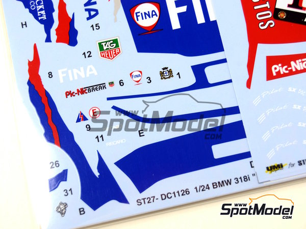 Image 4: BMW 318i Fina Bastos -  1996 | Marking / livery in 1/24 scale manufactured by Studio27 (ref. ST27-DC1126)