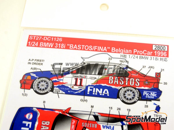 Image 6: BMW 318i Fina Bastos -  1996 | Marking / livery in 1/24 scale manufactured by Studio27 (ref. ST27-DC1126)