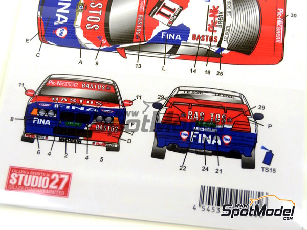 Image 8: BMW 318i Fina Bastos -  1996 | Marking / livery in 1/24 scale manufactured by Studio27 (ref. ST27-DC1126)