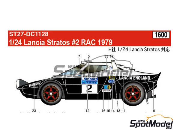 Image 1: Lancia Stratos HF - Great Britain RAC Rally 1979 | Marking / livery in 1/24 scale manufactured by Studio27 (ref. ST27-DC1128)
