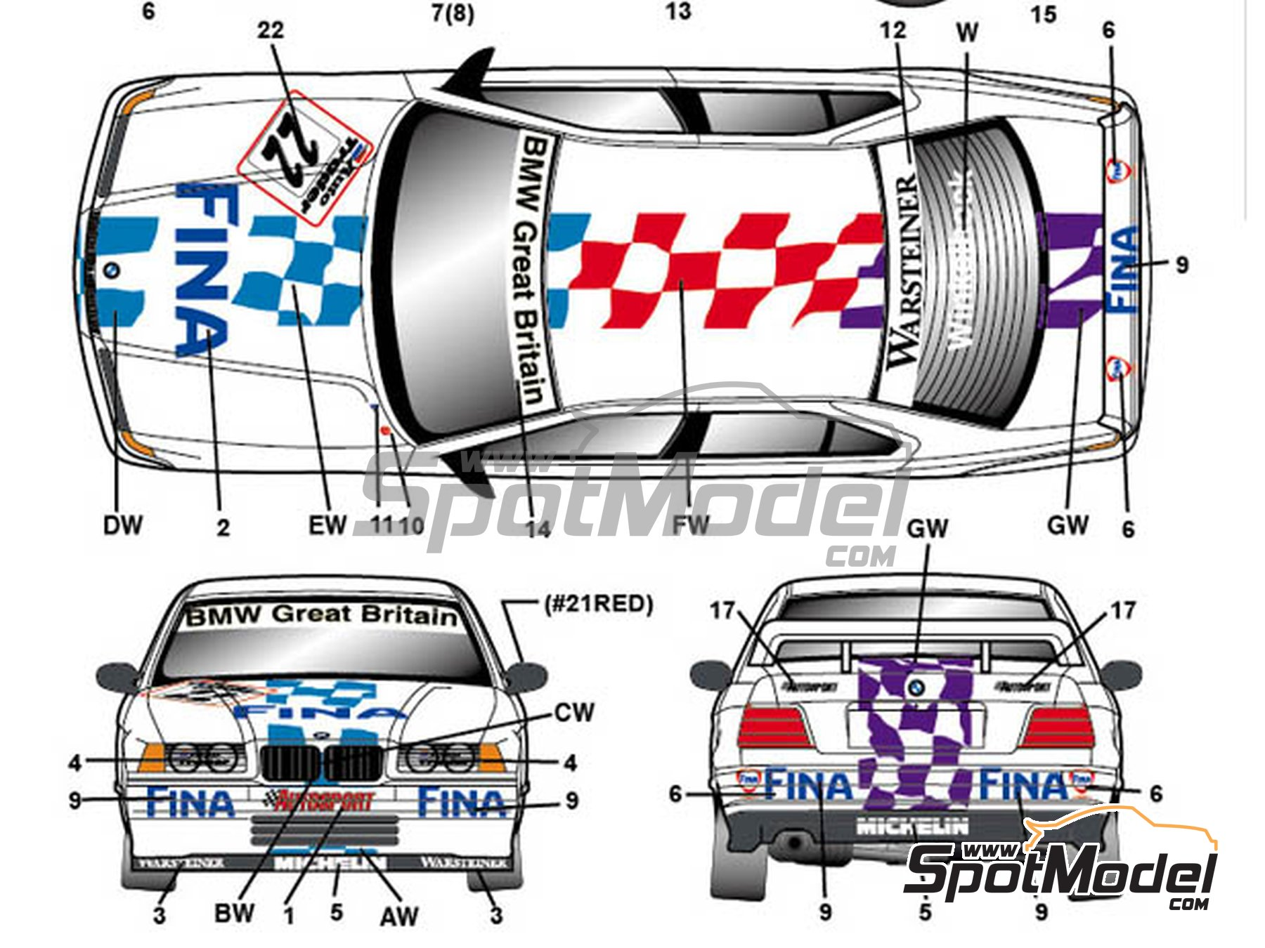 Image 2: BMW 318i Fina - British Touring Car Championship (BTCC) 1996 | Marking / livery in 1/24 scale manufactured by Studio27 (ref.ST27-DC1129)