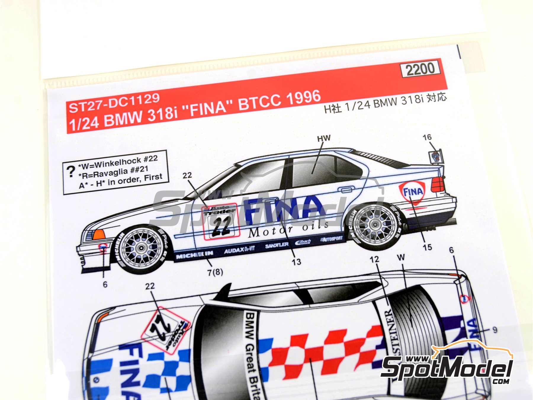 Image 8: BMW 318i Fina - British Touring Car Championship (BTCC) 1996 | Marking / livery in 1/24 scale manufactured by Studio27 (ref.ST27-DC1129)