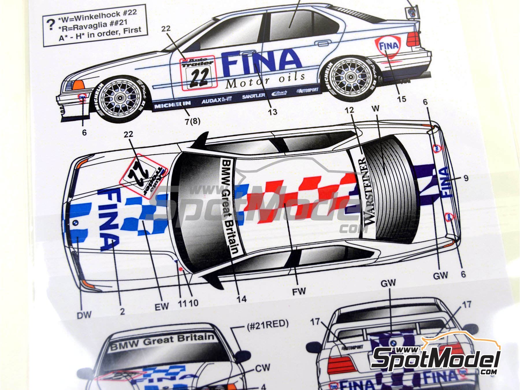 Image 9: BMW 318i Fina - British Touring Car Championship (BTCC) 1996 | Marking / livery in 1/24 scale manufactured by Studio27 (ref.ST27-DC1129)