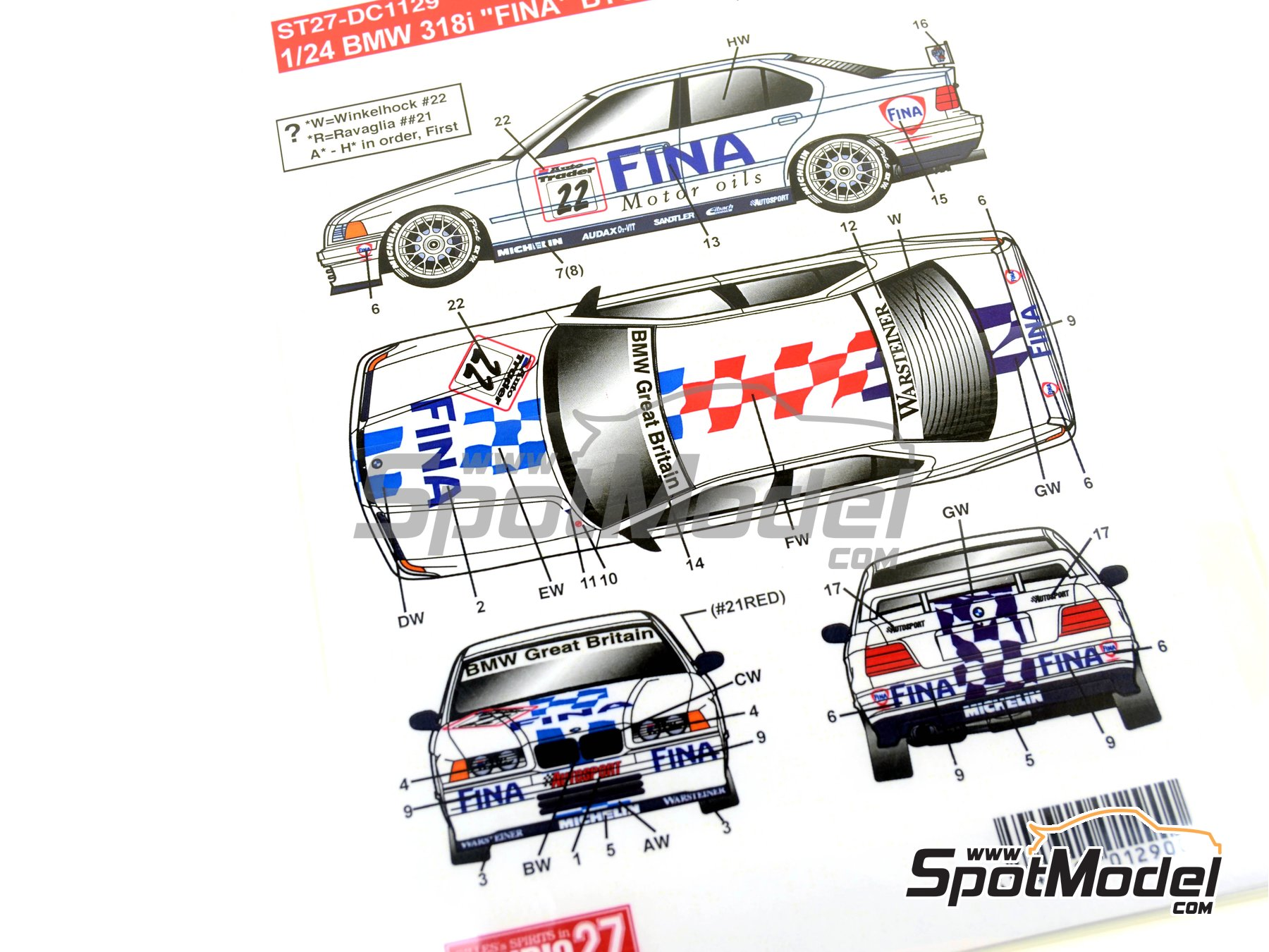 Image 11: BMW 318i Fina - British Touring Car Championship (BTCC) 1996 | Marking / livery in 1/24 scale manufactured by Studio27 (ref.ST27-DC1129)