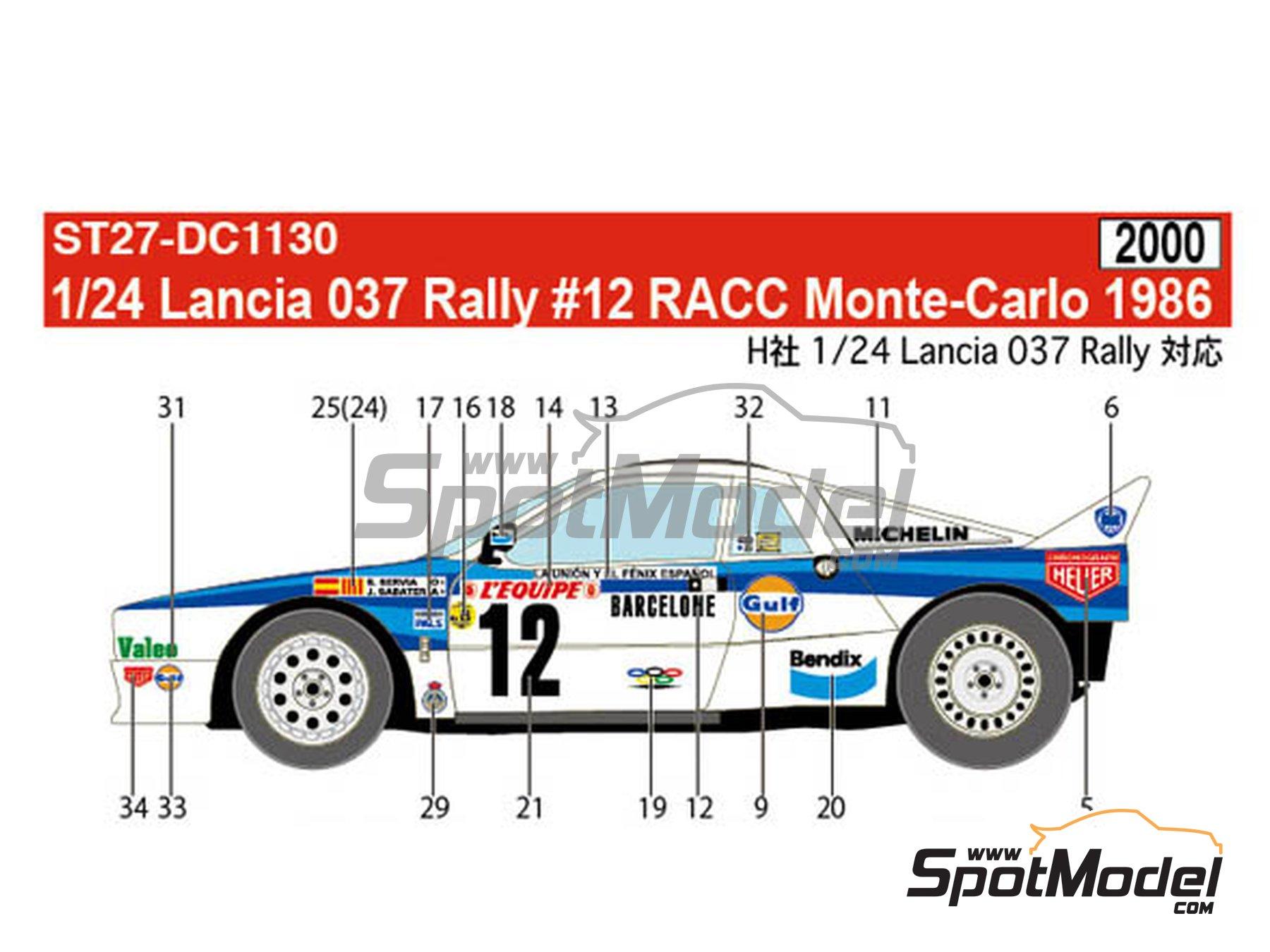 Image 1: Lancia 037 Rally RACC Bendix España - Montecarlo Rally - Rallye Automobile de Monte-Carlo 1986 | Marking / livery in 1/24 scale manufactured by Studio27 (ref.ST27-DC1130)