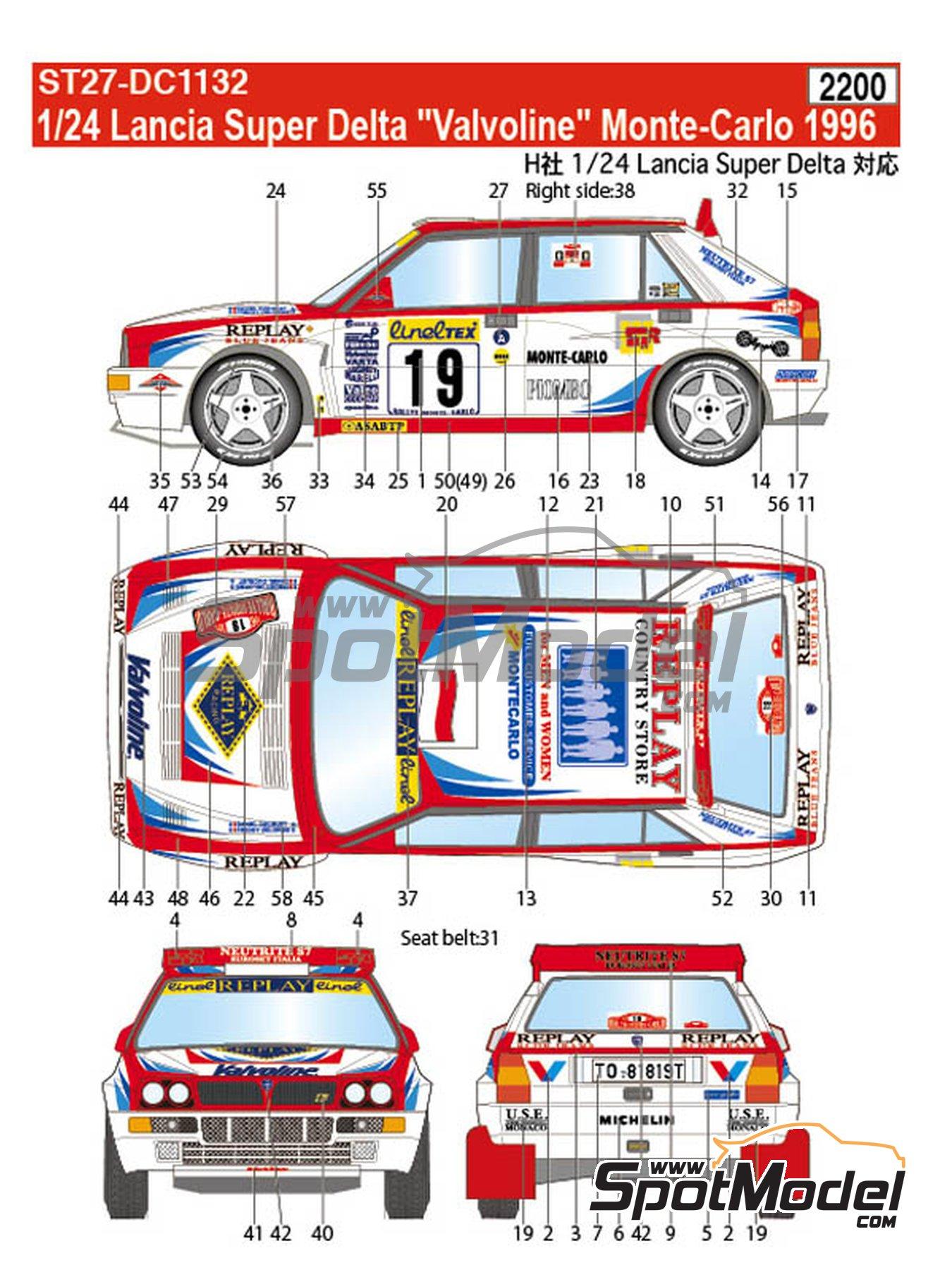 Lancia Super Delta Valvoline - Rally de Montecarlo 1996 | Decoración en escala1/24 fabricado por Studio27 (ref.ST27-DC1132) image