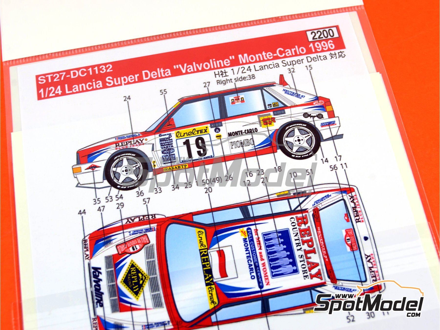 Image 9: Lancia Super Delta Valvoline - Rally de Montecarlo 1996 | Decoración en escala1/24 fabricado por Studio27 (ref.ST27-DC1132)
