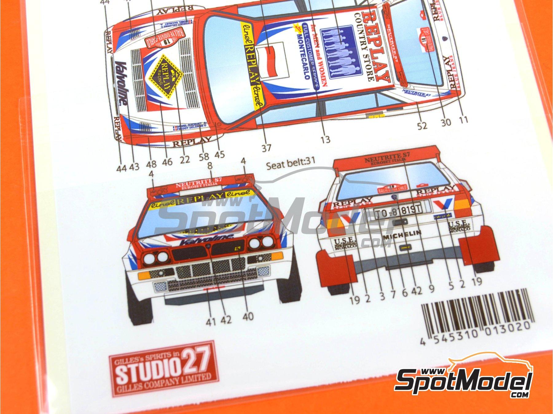 Image 10: Lancia Super Delta Valvoline - Rally de Montecarlo 1996 | Decoración en escala1/24 fabricado por Studio27 (ref.ST27-DC1132)