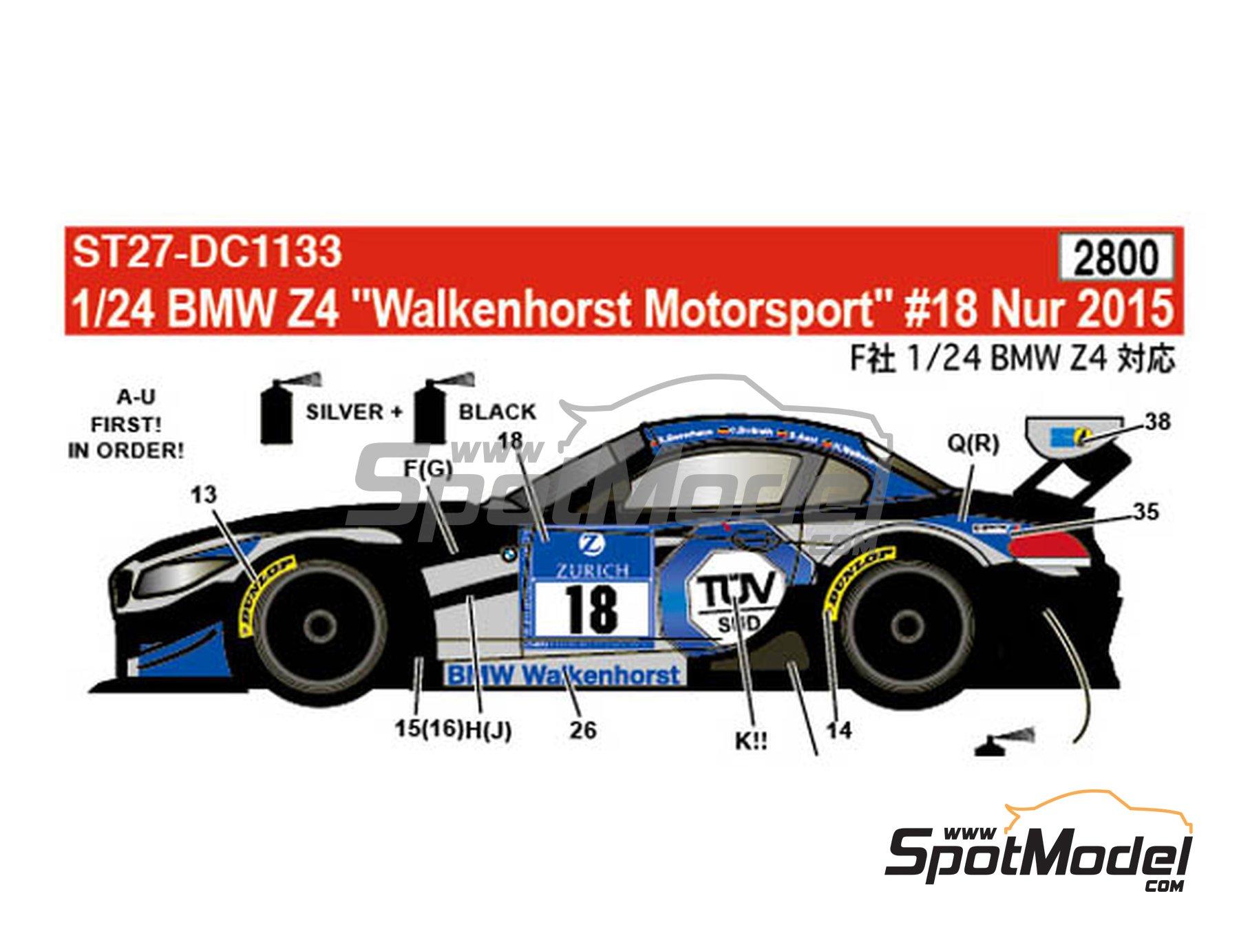 Image 1: BMW Z4 GT3 Walkenhorst Mortorsport - 24 Hours Nürburgring 2015 | Marking / livery in 1/24 scale manufactured by Studio27 (ref.ST27-DC1133)