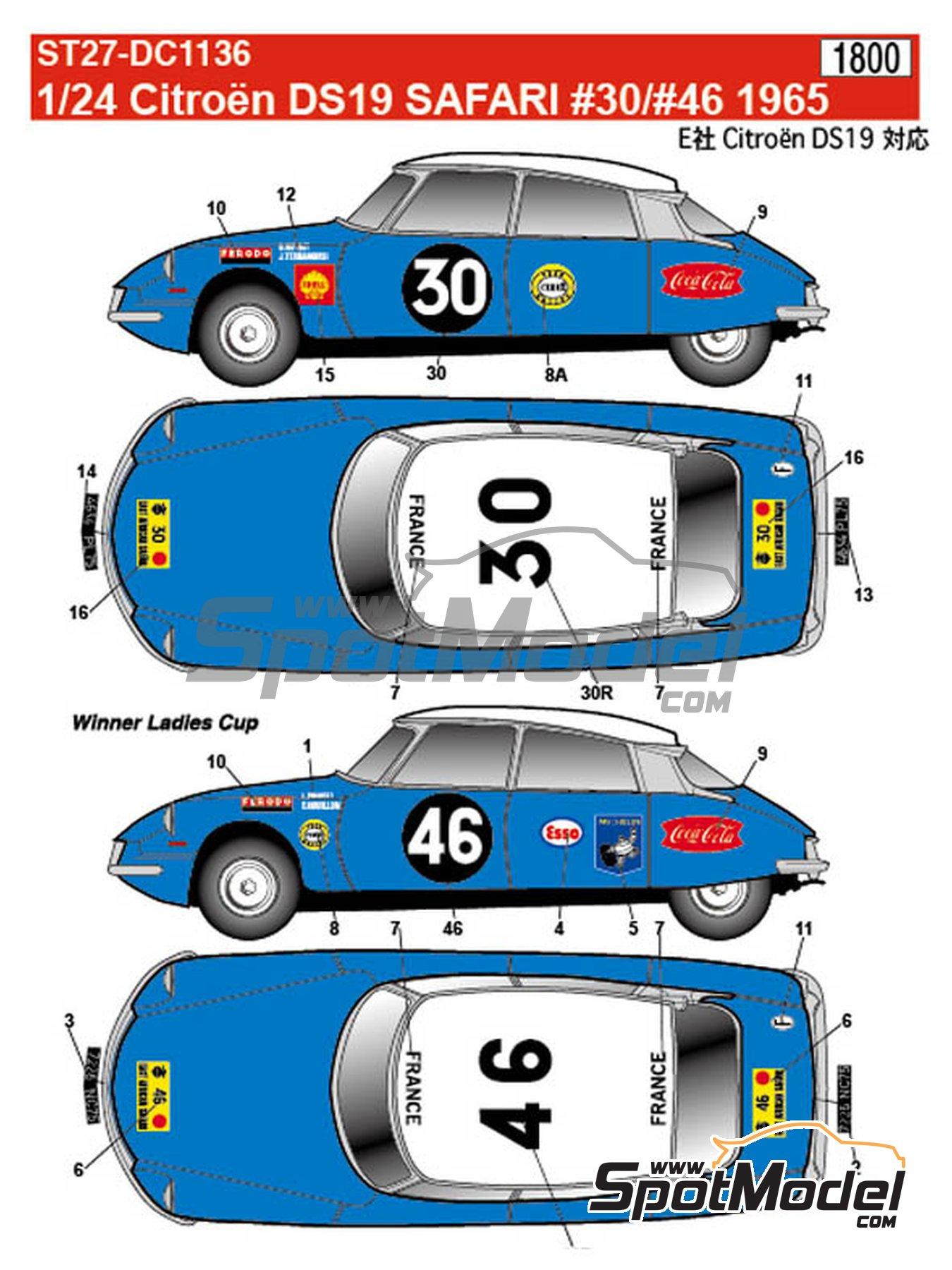 Citroën DS19 - Rally Safari 1965 | Decoración en escala1/24 fabricado por Studio27 (ref.ST27-DC1136) image