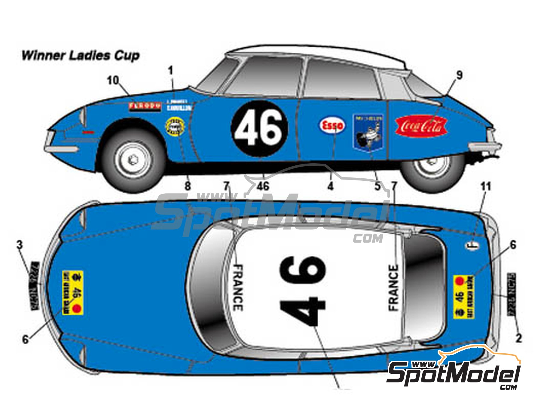 Image 2: Citroën DS19 - Safari Rally 1965 | Marking / livery in 1/24 scale manufactured by Studio27 (ref. ST27-DC1136)
