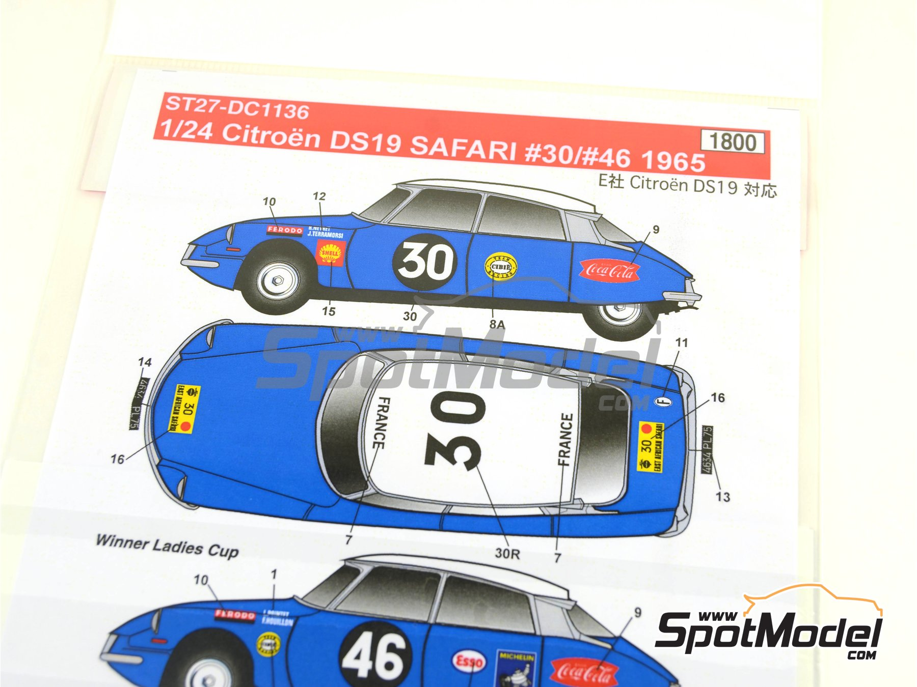 Image 6: Citroën DS19 - Safari Rally 1965 | Marking / livery in 1/24 scale manufactured by Studio27 (ref. ST27-DC1136)