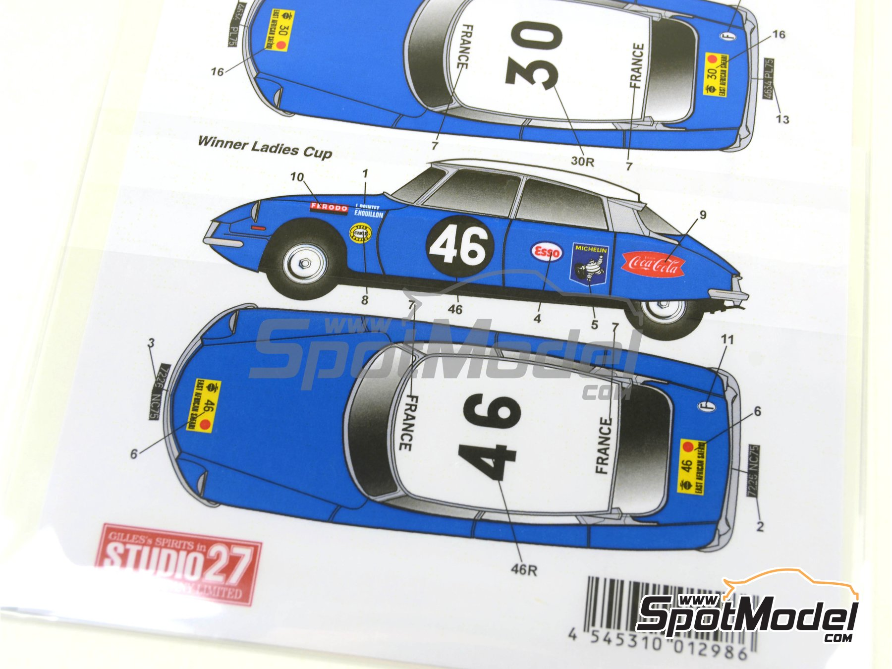 Image 7: Citroën DS19 - Safari Rally 1965 | Marking / livery in 1/24 scale manufactured by Studio27 (ref. ST27-DC1136)