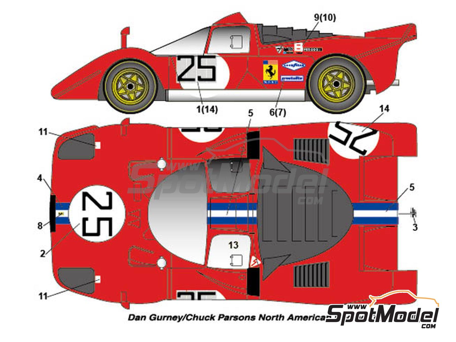 Image 1: Ferrari 512S North American Racing Team / Ferrari SEFAC / Scuderia Picchio Rosso - 24 Horas de Daytona 1970 | Decoración en escala1/24 fabricado por Studio27 (ref.ST27-DC1138)