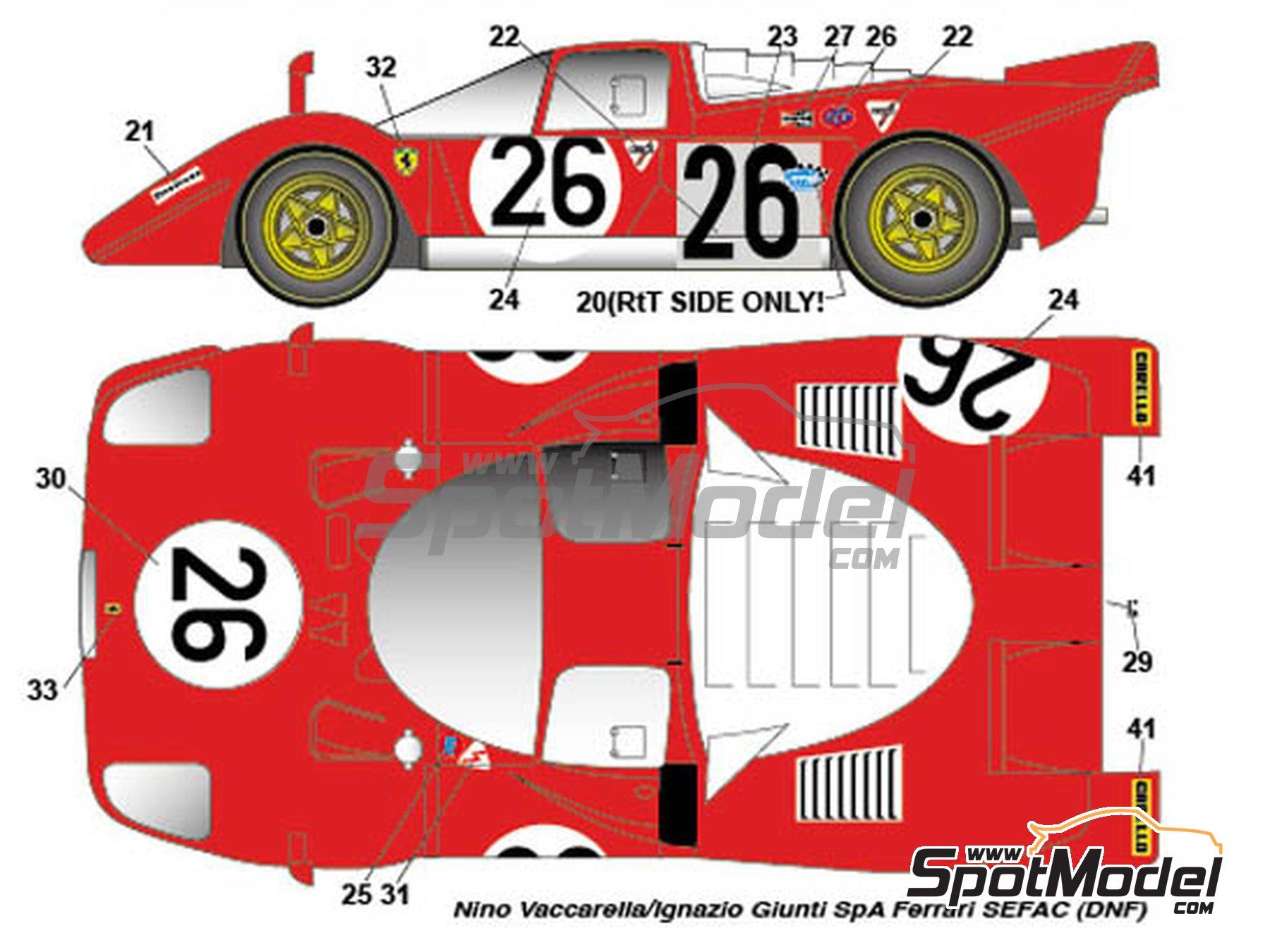 Image 3: Ferrari 512S North American Racing Team / Ferrari SEFAC / Scuderia Picchio Rosso - 24 Horas de Daytona 1970 | Decoración en escala1/24 fabricado por Studio27 (ref.ST27-DC1138)