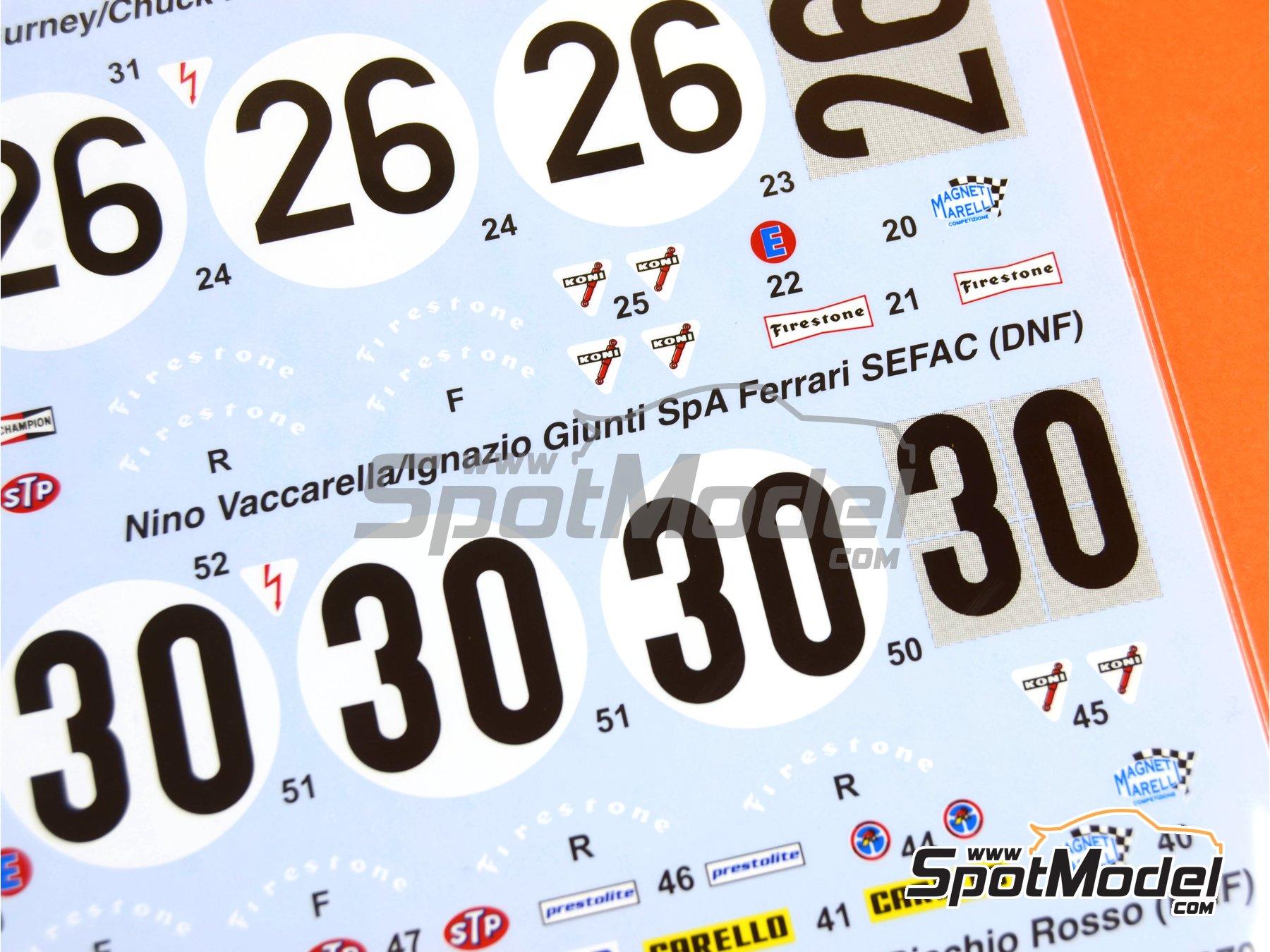 Image 6: Ferrari 512S North American Racing Team / Ferrari SEFAC / Scuderia Picchio Rosso - 24 Horas de Daytona 1970 | Decoración en escala1/24 fabricado por Studio27 (ref.ST27-DC1138)