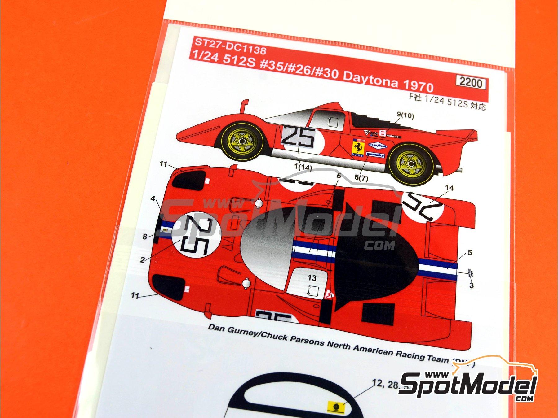 Image 9: Ferrari 512S North American Racing Team / Ferrari SEFAC / Scuderia Picchio Rosso - 24 Horas de Daytona 1970 | Decoración en escala1/24 fabricado por Studio27 (ref.ST27-DC1138)