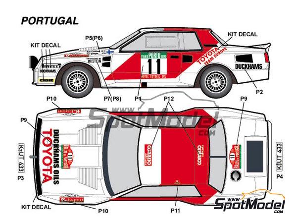 Image 1: Toyota TA64 Celica Rank Xerox - Rally de Inglaterra RAC, Rally de los 1000 Lagos Finlandia, Rally de Nueva Zelanda, Rally de Portugal 1984 | Decoración en escala1/24 fabricado por Studio27 (ref.ST27-DC1139)