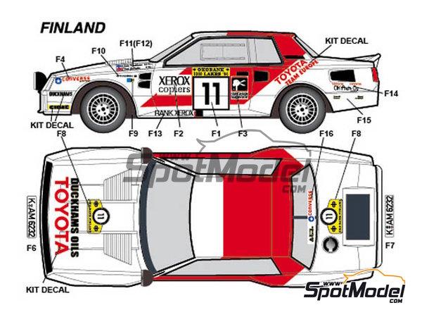 Image 2: Toyota TA64 Celica Rank Xerox - Rally de Inglaterra RAC, Rally de los 1000 Lagos Finlandia, Rally de Nueva Zelanda, Rally de Portugal 1984 | Decoración en escala1/24 fabricado por Studio27 (ref.ST27-DC1139)