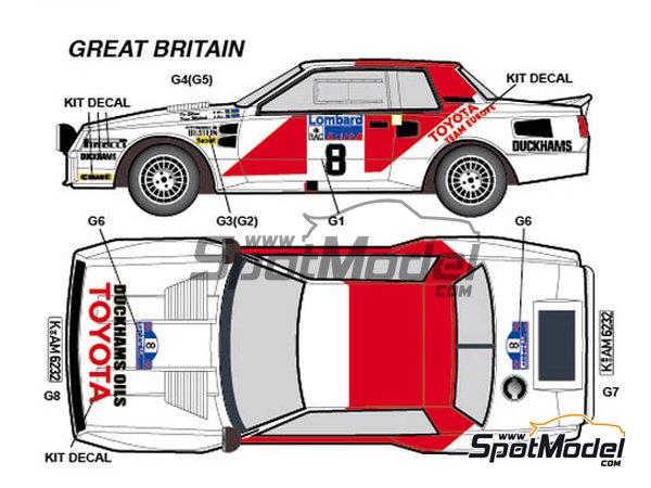 Image 3: Toyota TA64 Celica Rank Xerox - Rally de Inglaterra RAC, Rally de los 1000 Lagos Finlandia, Rally de Nueva Zelanda, Rally de Portugal 1984 | Decoración en escala1/24 fabricado por Studio27 (ref.ST27-DC1139)