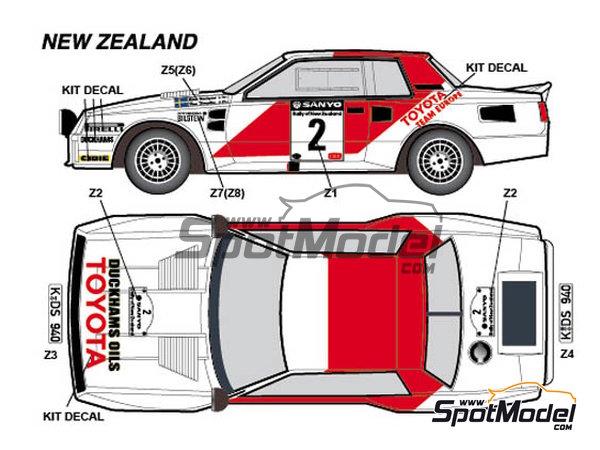 Image 4: Toyota TA64 Celica Rank Xerox - Rally de Inglaterra RAC, Rally de los 1000 Lagos Finlandia, Rally de Nueva Zelanda, Rally de Portugal 1984 | Decoración en escala1/24 fabricado por Studio27 (ref.ST27-DC1139)