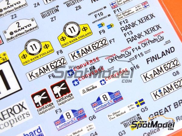 Image 8: Toyota TA64 Celica Rank Xerox - Rally de Inglaterra RAC, Rally de los 1000 Lagos Finlandia, Rally de Nueva Zelanda, Rally de Portugal 1984 | Decoración en escala1/24 fabricado por Studio27 (ref.ST27-DC1139)
