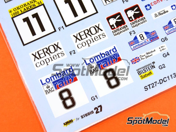 Image 9: Toyota TA64 Celica Rank Xerox - Great Britain RAC Rally, 1000 Lakes Finland Rally, New Zealand rally, Portugal Rally 1984 | Marking / livery in 1/24 scale manufactured by Studio27 (ref. ST27-DC1139)