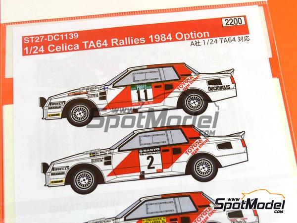 Image 10: Toyota TA64 Celica Rank Xerox - Rally de Inglaterra RAC, Rally de los 1000 Lagos Finlandia, Rally de Nueva Zelanda, Rally de Portugal 1984 | Decoración en escala1/24 fabricado por Studio27 (ref.ST27-DC1139)