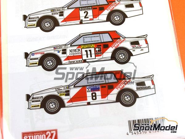 Image 11: Toyota TA64 Celica Rank Xerox - Rally de Inglaterra RAC, Rally de los 1000 Lagos Finlandia, Rally de Nueva Zelanda, Rally de Portugal 1984 | Decoración en escala1/24 fabricado por Studio27 (ref.ST27-DC1139)
