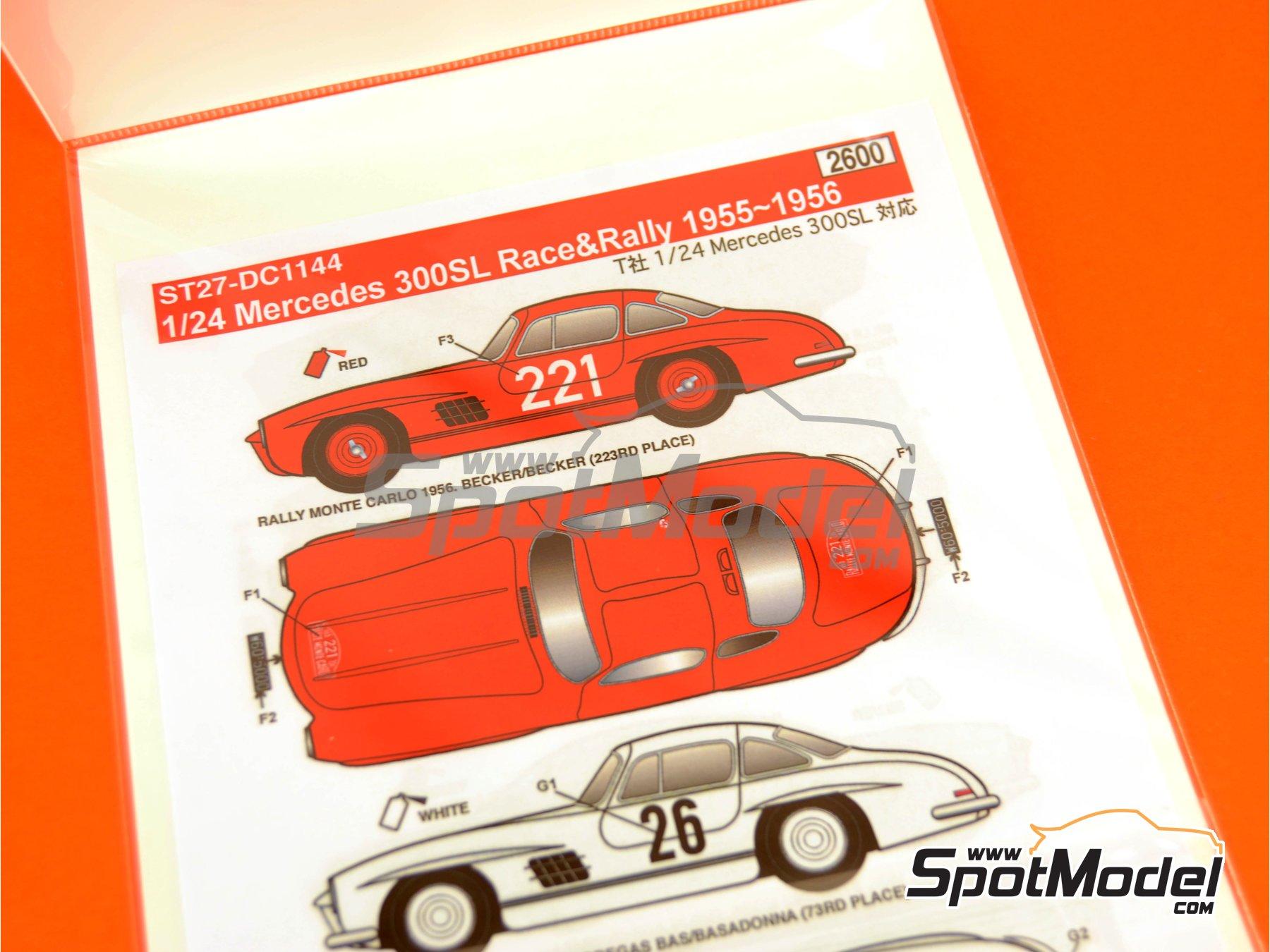 Image 5: Mercedes-Benz 300SL - Rally de Montecarlo - Rallye Automobile de Monte-Carlo, Rally Tour de Corse 1955 y 1956 | Decoración en escala1/24 fabricado por Studio27 (ref.ST27-DC1144)