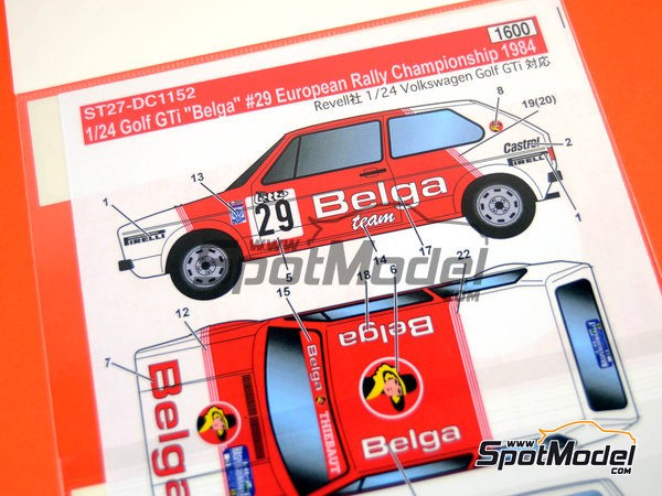 Image 3: Volkswagen Golf I GTI Belga - European Rally Championship (ERC) 1984 | Marking / livery in 1/24 scale manufactured by Studio27 (ref. ST27-DC1152)