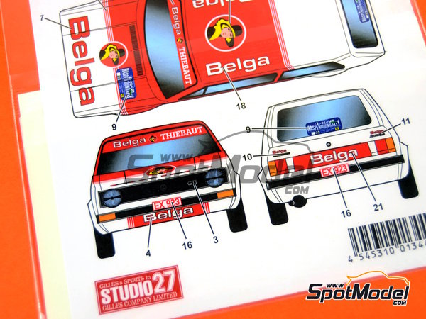 Image 4: Volkswagen Golf I GTI Belga - European Rally Championship (ERC) 1984 | Marking / livery in 1/24 scale manufactured by Studio27 (ref. ST27-DC1152)