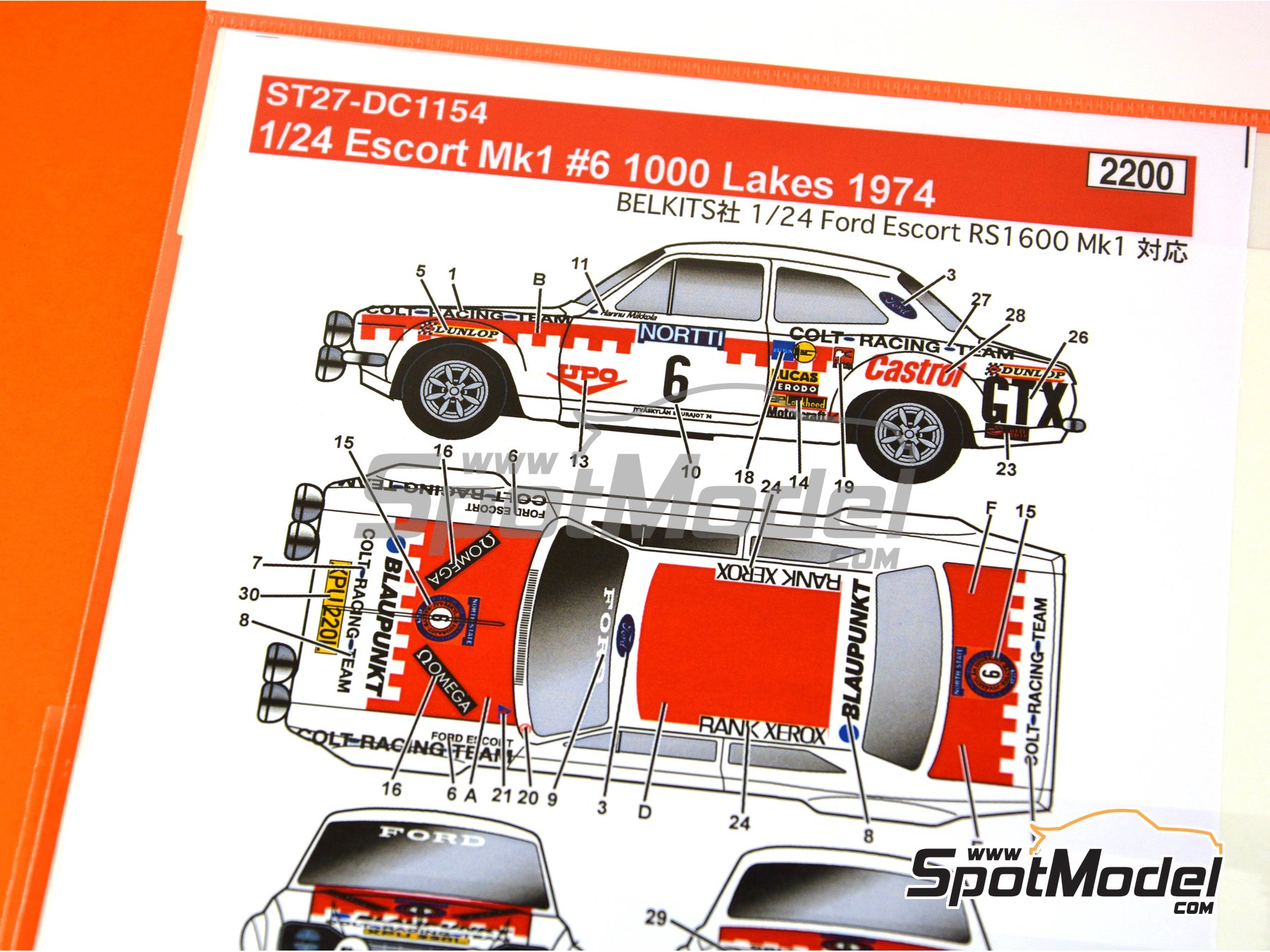 Image 3: Ford Escort RS1600 Mk I - 1000 Lakes Finland Rally 1974 | Marking / livery in 1/24 scale manufactured by Studio27 (ref. ST27-DC1154)
