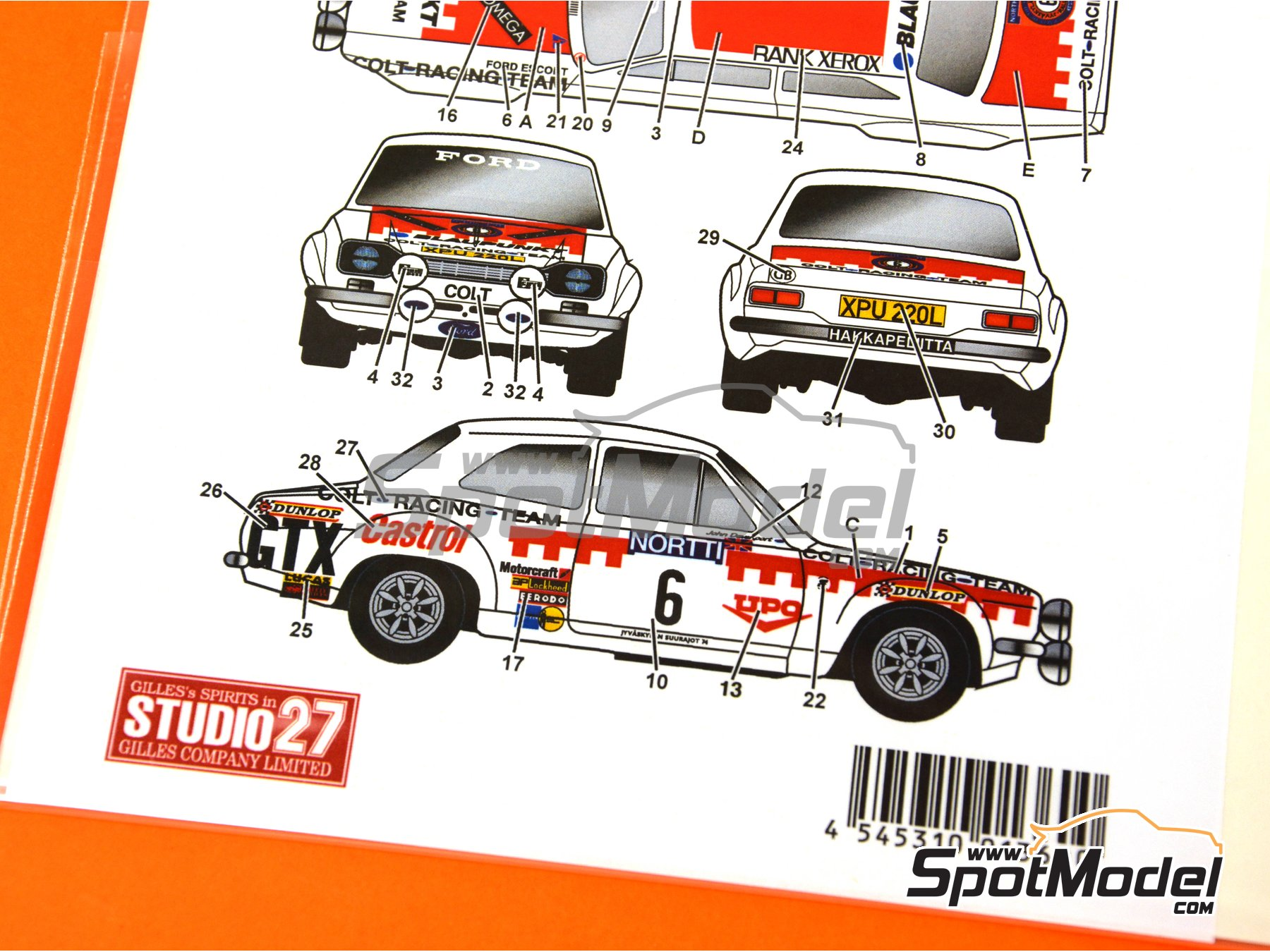 Image 4: Ford Escort RS1600 Mk I Colt Racing Team - 1000 Lakes Finland Rally 1974 | Marking / livery in 1/24 scale manufactured by Studio27 (ref. ST27-DC1154)