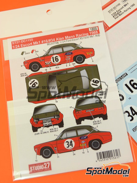 Ford Escort RS1600 Mk I -  1968 | Marking in 1/24 scale manufactured by Studio27 (ref. ST27-DC1155) image