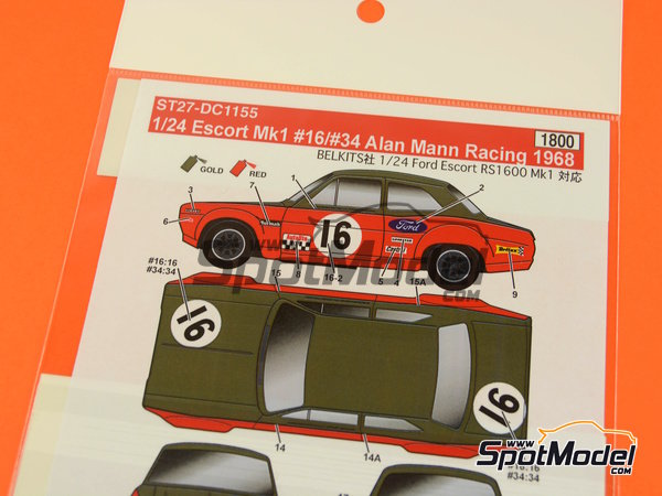 Image 5: Ford Escort RS1600 Mk I -  1968 | Marking / livery in 1/24 scale manufactured by Studio27 (ref. ST27-DC1155)