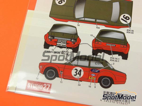Image 6: Ford Escort RS1600 Mk I -  1968 | Marking / livery in 1/24 scale manufactured by Studio27 (ref. ST27-DC1155)